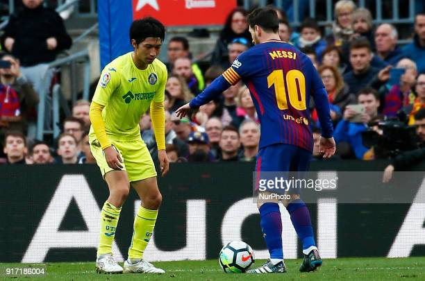 Gaku Shibasaki and Leo Messi during the match between FC Barcelona and Getafe CF for the round 23 of the Liga Santander played at the Camp Nou...