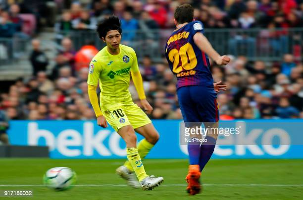 Gaku Shibasaki and Sergi Roberto during the match between FC Barcelona and Getafe CF for the round 23 of the Liga Santander played at the Camp Nou...