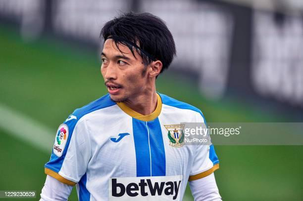 Gaku Shibasaki during La Liga SmartBank match between CD Leganes and Real Zaragoza at Estadio Municipal de Butarque on October 18, 2020 in Leganes,...