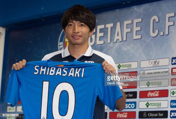 Gaku Shibasaki is unveiled to the press as a new signing for newly promoted La Liga team Getafe CF SAD at Coliseum Alfonso Perez on July 21 2017 in...