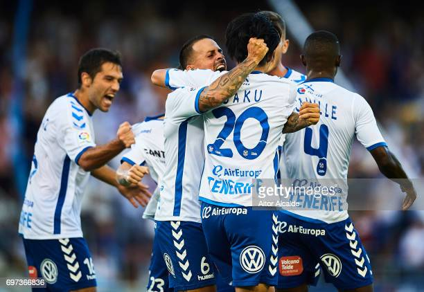 Gaku Shibasaki of CD Tenerife celebrates after scoring the first goal for CD Tenerife with his team mate Victor Jode Anino 'Vitolo' of CD Tenerife...