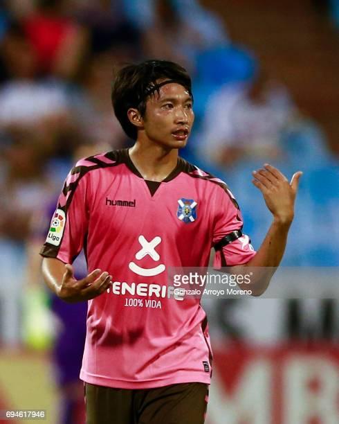 Gaku Shibasaki of CD Tenerife gives instructions to his teammates during the La Liga 2 match between Real Zaragoza and CD Tenerife at La Romareda...