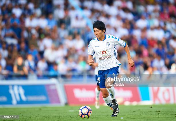 Gaku Shibasaki of CD Tenerife in action during La Liga 2 play off round between CD Tenerife and Getafe CF at Heliodoro Rodriguez Lopez Stadium on...