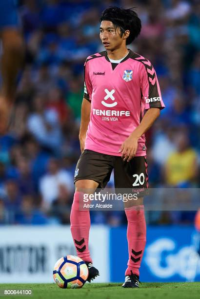Gaku Shibasaki of CD Tenerife in action during La Liga 2 play off round between Getafe and CD Tenerife at Coliseum Alfonso Perez Stadium on June 24...