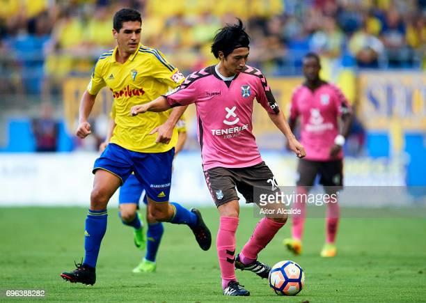 Gaku Shibasaki of CD Tenerife in action during La Liga Segunda Division between Cadiz CF and CD Tenerife at Estacio Ramon de Carranza on June 15 2017...