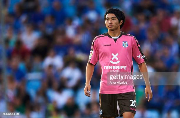 Gaku Shibasaki of CD Tenerife looks on during La Liga 2 play off round between Getafe and CD Tenerife at Coliseum Alfonso Perez Stadium on June 24...