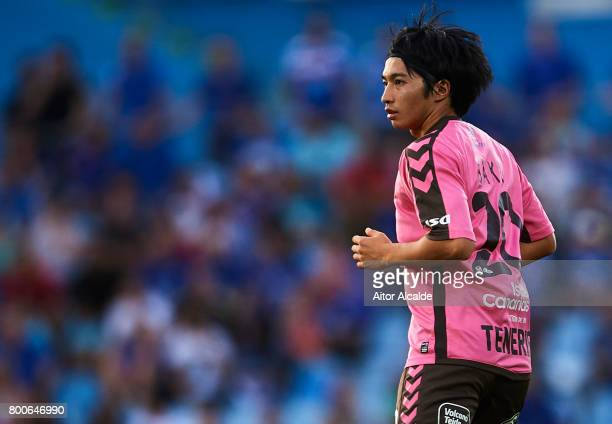 Gaku Shibasaki of CD Tenerife looks on during La Liga 2 play off round between Getafe and CD Tenerife at Coliseum Alfonso Perez Stadium on June 24...