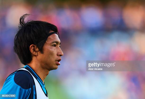 Gaku Shibasaki of CD Tenerife looks on during the training session prior to La Liga 2 play off round between Getafe and CD Tenerife at Coliseum...
