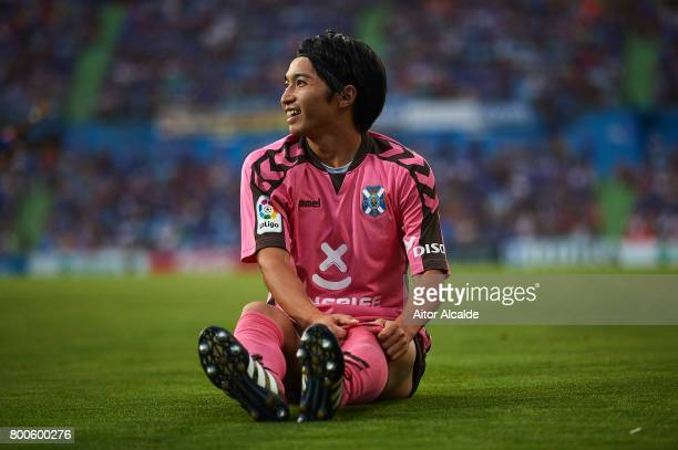 Gaku Shibasaki of CD Tenerife smiles after assist to Gaku Shibasaki to score the firat goal of CD Tenerife during La Liga 2 play off round between...