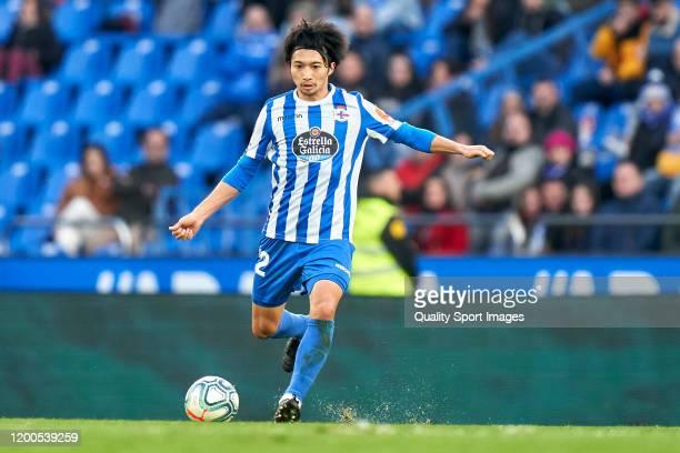 Gaku Shibasaki of Deportivo de La Coruna in action during the La Liga Smartbank match between Deportivo de La Coruna and Cadiz CF at Abanca-Riazor...