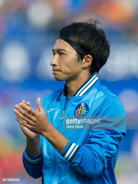 Gaku Shibasaki of Getafe applauds before the start of the La Liga match between Getafe and Barcelona at Coliseum Alfonso Perez on September 16 2017...