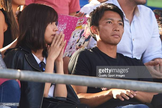 Gaku Shibasaki of Getafe CF and Erina Mano attend the La Liga match between Getafe CF and Levante UD at Coliseum Alfonso Perez on October 6 2018 in...
