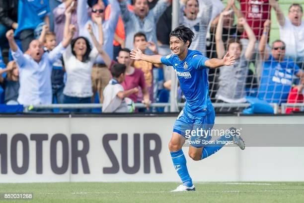 Gaku Shibasaki of Getafe CF celebrates after scoring his goal during the La Liga 201718 match between Getafe CF and FC Barcelona at Coliseum Alfonso...