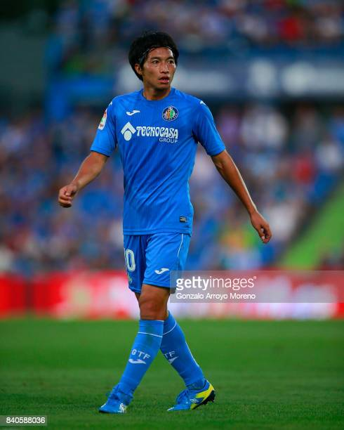 Gaku Shibasaki of Getafe CF in action during the La Liga match between Getafe CF and Sevilla FC at Coliseum Alfonso Perez on August 27 2017 in Getafe...