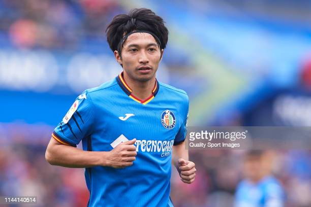 Gaku Shibasaki of Getafe CF looks on during the La Liga match between Getafe CF and Sevilla FC at Coliseum Alfonso Perez on April 21 2019 in Getafe...