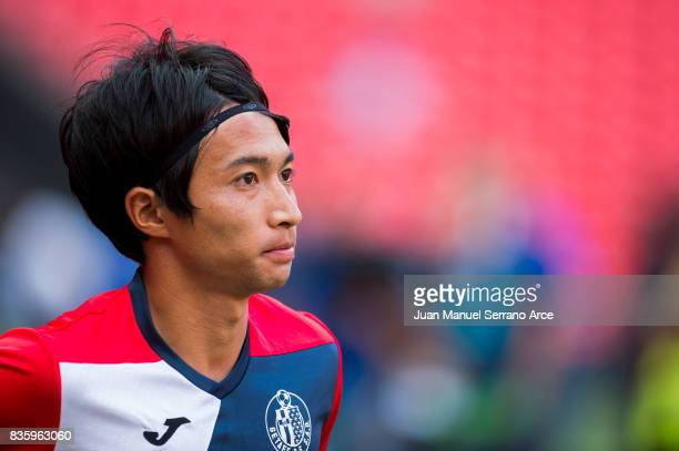 Gaku Shibasaki of Getafe CF looks on prior to the start the La Liga match between Athletic Club and Getafe at at San Mames Stadium on August 20 2017...