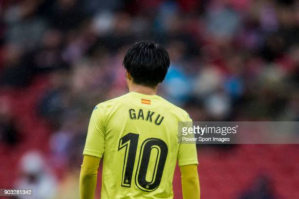Gaku Shibasaki of Getafe CF reacts during the La Liga 201718 match between Atletico de Madrid and Getafe CF at Wanda Metropolitano on January 06 2018...