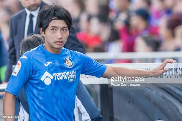 Gaku Shibasaki of Getafe CF walks after his substitution during the La Liga 201718 match between Getafe CF and FC Barcelona at Coliseum Alfonso Perez...