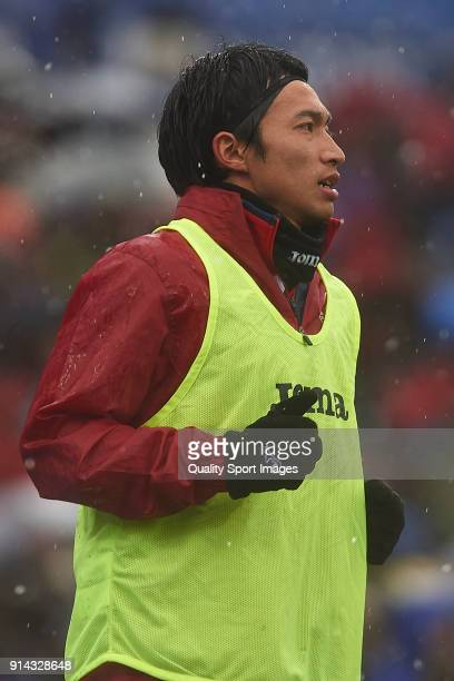 Gaku Shibasaki of Getafe CF warms up during the La Liga match between Getafe and Leganes at Coliseum Alfonso Perez on February 4 2018 in Getafe SpainÊ