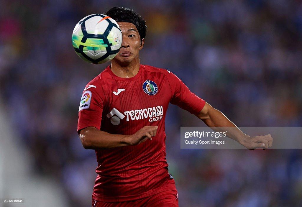 Gaku Shibasaki of Getafe in action during the La Liga match between Leganes and Getafe at Estadio Municipal de Butarque on September 8, 2017 in Leganes, Spain.