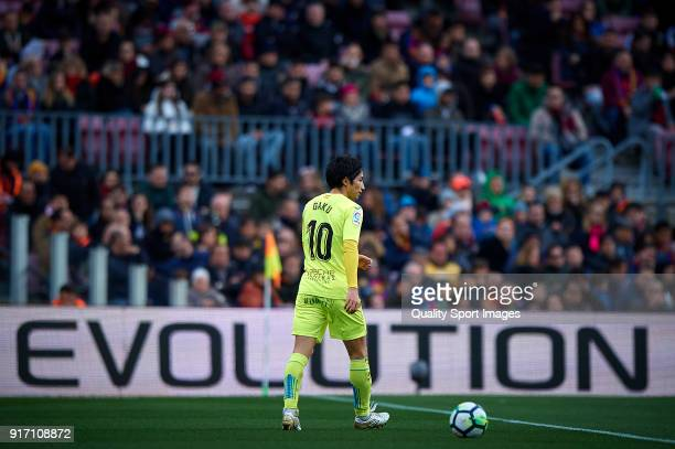 Gaku Shibasaki of Getafe in action during the La Liga match between Barcelona and Getafe at Camp Nou on February 11 2018 in Barcelona Spain