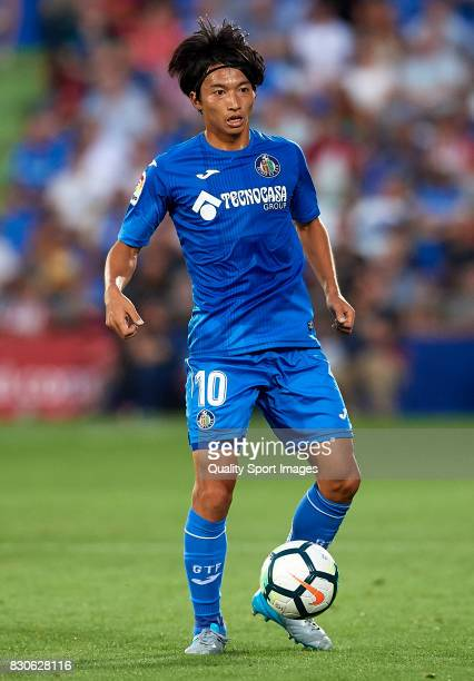 Gaku Shibasaki of Getafe in action during the Pre Season Friendly match between Getafe CF and Atletico de Madrid at Coliseum Alfonso Perez Stadium on...