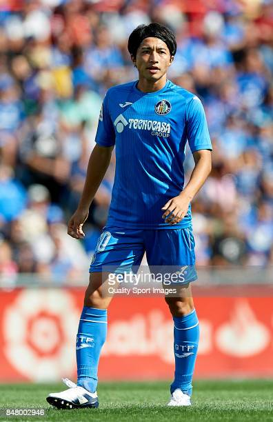Gaku Shibasaki of Getafe looks on during the La Liga match between Getafe and Barcelona at Coliseum Alfonso Perez on September 16 2017 in Getafe Spain