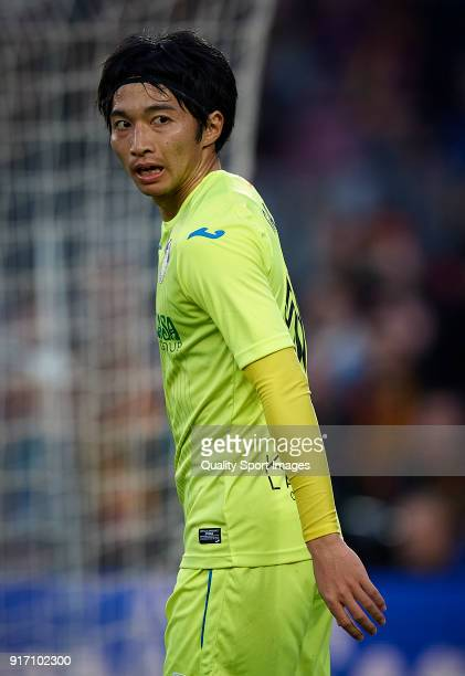 Gaku Shibasaki of Getafe looks on during the La Liga match between Barcelona and Getafe at Camp Nou on February 11 2018 in Barcelona Spain