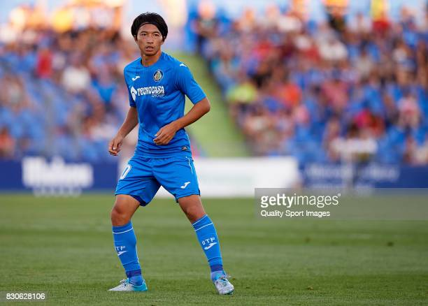 Gaku Shibasaki of Getafe looks on during the Pre Season Friendly match between Getafe CF and Atletico de Madrid at Coliseum Alfonso Perez Stadium on...