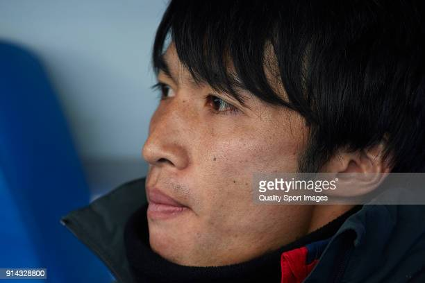 Gaku Shibasaki of Getafe looks on prior to the La Liga match between Getafe and Leganes at Coliseum Alfonso Perez on February 4 2018 in Getafe SpainÊ