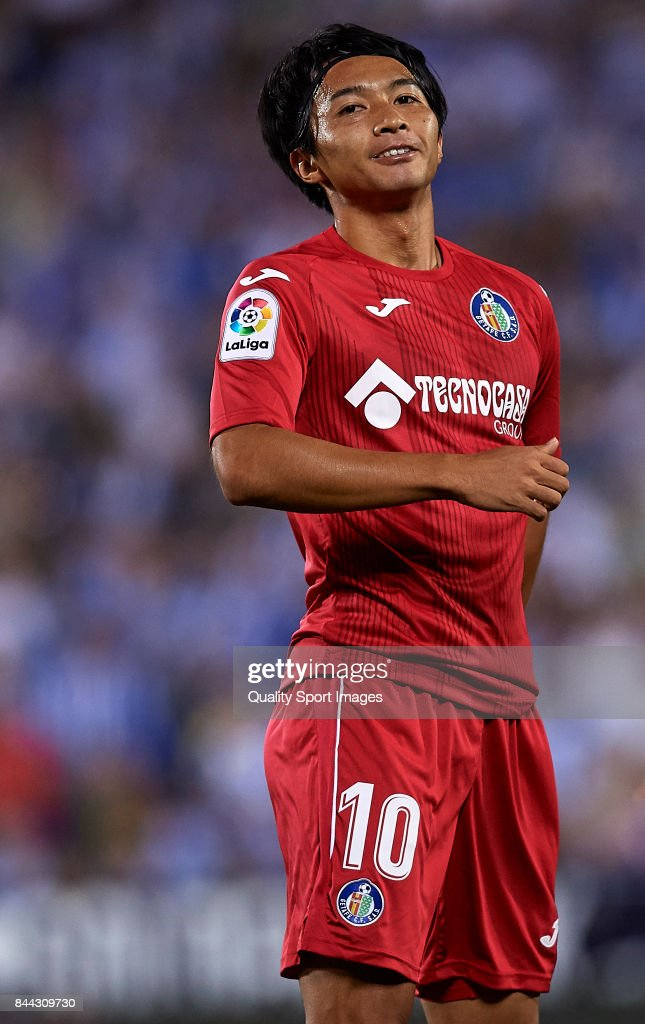 Gaku Shibasaki of Getafe reacts during the La Liga match between Leganes and Getafe at Estadio Municipal de Butarque on September 8, 2017 in Leganes, Spain.