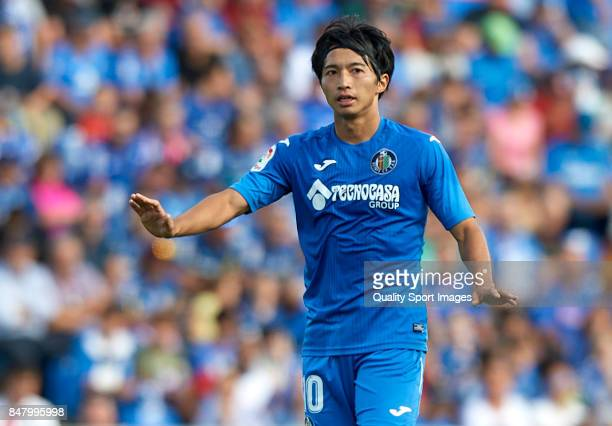 Gaku Shibasaki of Getafe reacts during the La Liga match between Getafe and Barcelona at Coliseum Alfonso Perez on September 16 2017 in Getafe Spain