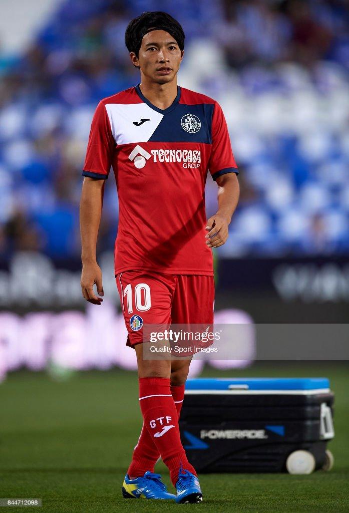 Gaku Shibasaki of Getafe warm-up prior to the La Liga match between Leganes and Getafe at Estadio Municipal de Butarque on September 8, 2017 in Leganes, Spain.