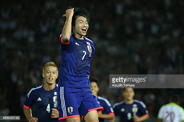 Gaku Shibasaki of Japan celebrates after scoring a goal during the KIRIN CHALLENGE CUP 2014 international friendly match between Japan and Venezuela...