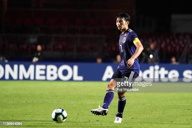 Gaku Shibasaki of Japan in action during a training session of the Copa America Brazil 2019 group C match against Chile at Morumbi Stadium on June...