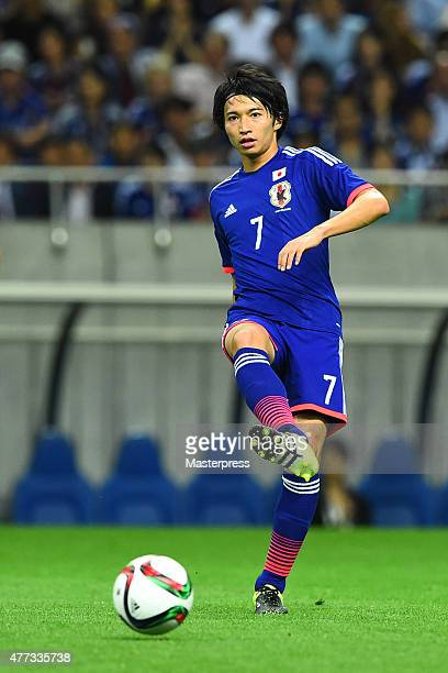 Gaku Shibasaki of Japan in action during the 2018 FIFA World Cup Asian Qualifier second round match between Japan and Singapore at Saitama Stadium on...