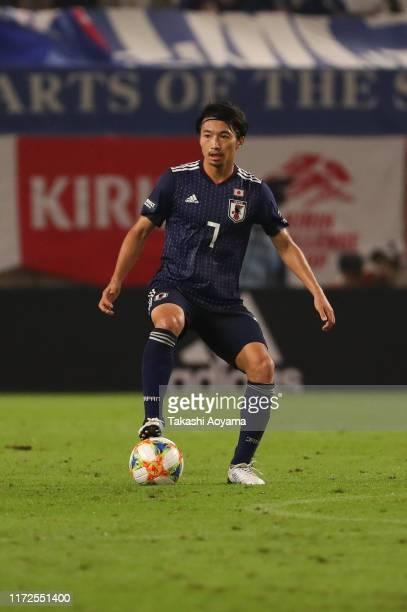 Gaku Shibasaki of Japan in action during the international friendly match between Japan and Paraguay at Kashima Soccer Stadium on September 05, 2019...