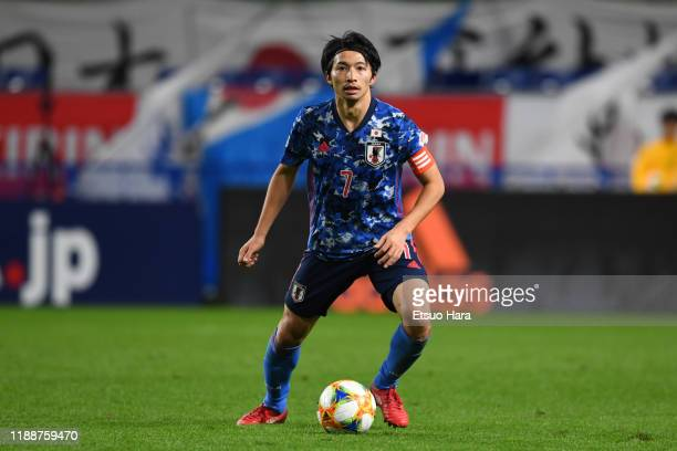 Gaku Shibasaki of Japan in action during the international friendly match between Japan and Venezuela at the Panasonic Stadium Suita on November 19,...