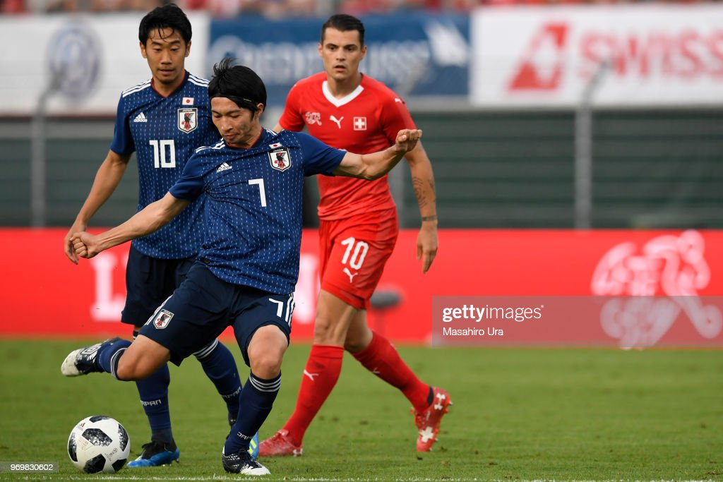 Gaku Shibasaki of Japan in action during the international friendly match between Switzerland and Japan at the Stadium Cornaredo on June 8, 2018 in Lugano, Switzerland.