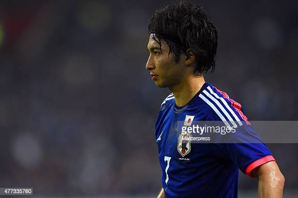 Gaku Shibasaki of Japan looks on during the 2018 FIFA World Cup Asian Qualifier second round match between Japan and Singapore at Saitama Stadium on...