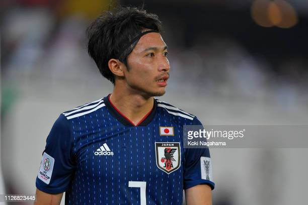 Gaku Shibasaki of Japan looks on during the AFC Asian Cup final match between Japan and Qatar at Zayed Sports City Stadium on February 01 2019 in Abu...