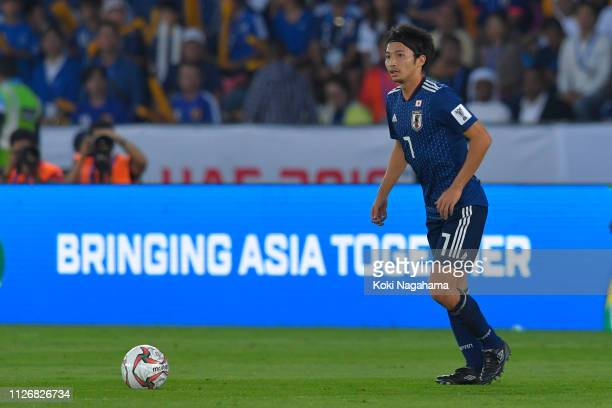 Gaku Shibasaki of Japan looks on during the AFC Asian Cup final match between Japan and Qatar at Zayed Sports City Stadium on February 01, 2019 in...