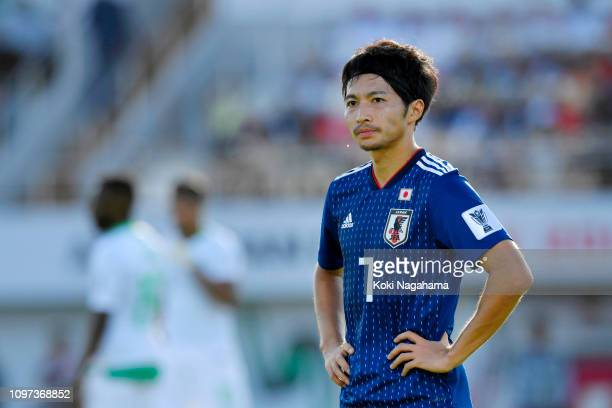 Gaku Shibasaki of Japan looks on during the AFC Asian Cup round of 16 match between Japan and Saudi Arabia at Sharjah Stadium on January 21 2019 in...