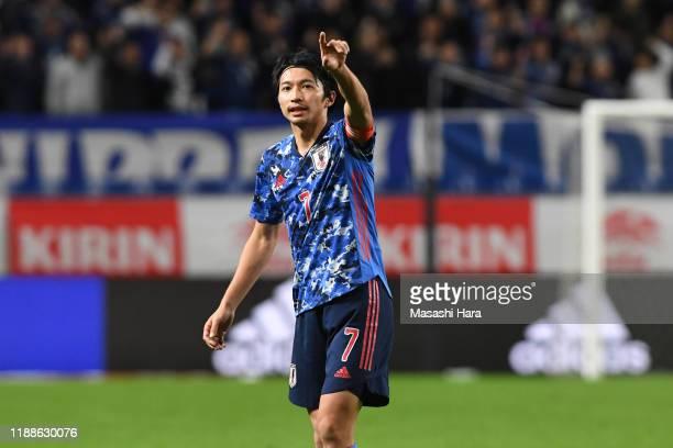 Gaku Shibasaki of Japan looks on during the international friendly match between Japan and Venezuela at the Panasonic Stadium Suita on November 19,...
