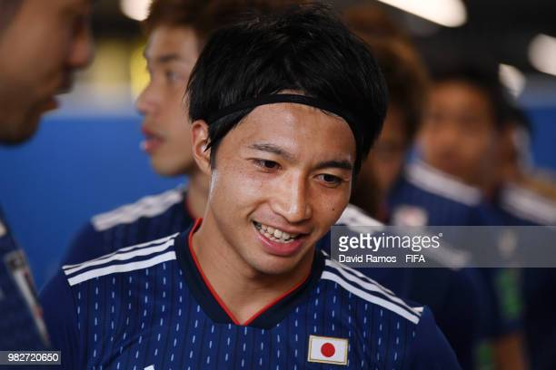 Gaku Shibasaki of Japan looks on from the tunnel prior to the 2018 FIFA World Cup Russia group H match between Japan and Senegal at Ekaterinburg...