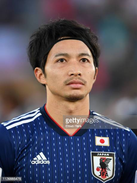 Gaku Shibasaki of Japan looks on prior to the AFC Asian Cup final match between Japan and Qatar at Zayed Sports City Stadium on February 01 2019 in...