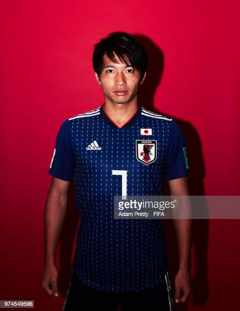 Gaku Shibasaki of Japan poses for a portrait during the official FIFA World Cup 2018 portrait session at the FC Rubin Training Grounds on June 14...