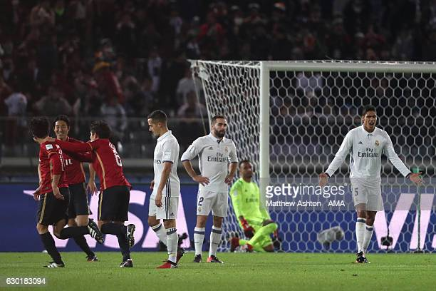 Gaku Shibasaki of Kashima Antlers celebrates scoring his team's second goal to make the score 12 with his teammates during the FIFA Club World Cup...