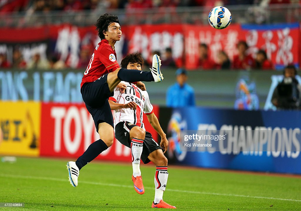 Gaku Shibasaki #20 of Kashima Antlers in action during the AFC Champions League Group H match between Kashima Antlers and FC Seoul at Kashima Stadium on May 5, 2015 in Kashima, Japan.