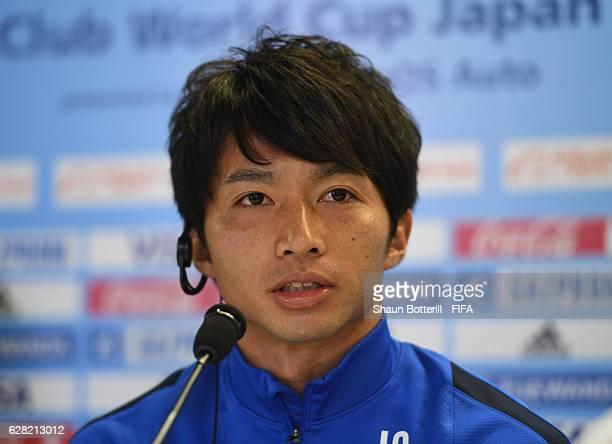 Gaku Shibasaki of Kashima Antlers talks to the media during a press conference before training at International Stadium Yokohama on December 7 2016...